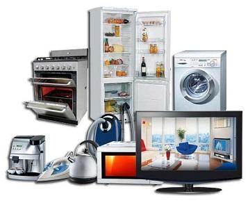 Печь, холодильник, стиральная машина, кофеварка, утюг, чайник, пылесос, микроволновая печь, телевизор