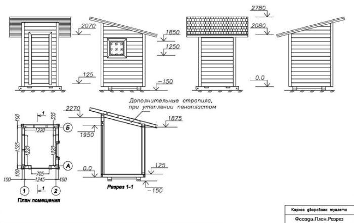 чертеж туалета для дачи